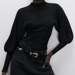 ZARA Balloon Puff Sleeve Black Sweater NEW